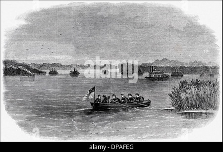 American Civil War 1861 - 1865 Federal Flotilla on the Mississippi River off Fort Pillow shortly before it's evacuation. - Stock Photo