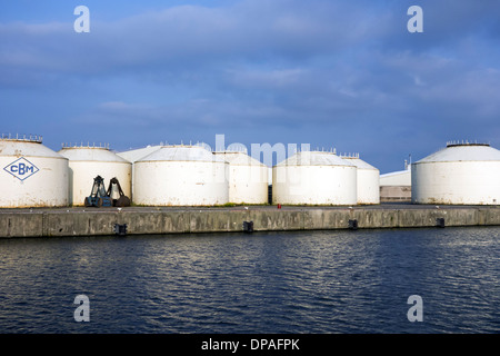 Bulk storage silos of the Compagnie Belge de Manutention / CBM / Sea-Invest at the port of Ghent, East Flanders, - Stock Photo