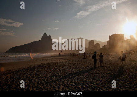 Sunset on Ipanema Beach, Rio, Brazil - Stock Photo