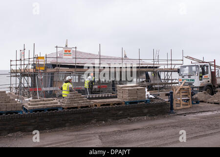 Aberystwyth, Wales, UK. 10th January 2014. Clean up and repair operations under way at Aberystwyth, Wales,  10th - Stock Photo