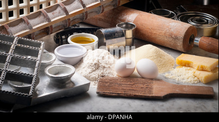 Tools, utensils, ingredients to make fresh pasta - Stock Photo