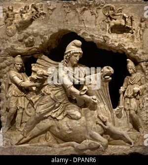 Relief of Mithra  the Iranian god of the sun sacrificing the bull from the Capitol Rome Roman  Italy 100-200 AD - Stock Photo
