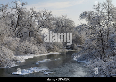 Humber River at Rowntree Mill Park after December 2013 ice and snow storm Toronto - Stock Photo