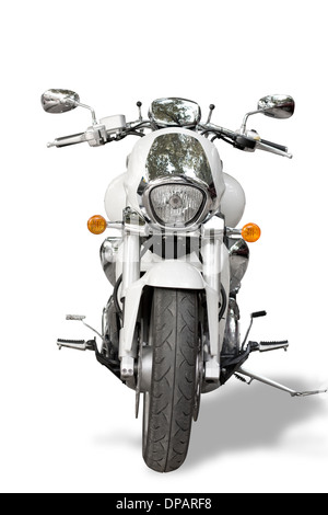 Motorcycle isolated on white background. Motorcycle shoot in front proper for rent-a-car design. - Stock Photo