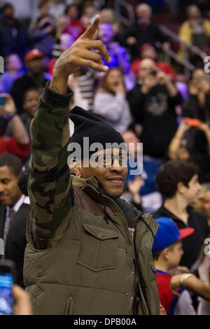 Philadelphia, Pennsylvania, USA. 10th Jan, 2014. Former 76ers Allen Iverson reacts to the crowd during the NBA game - Stock Photo