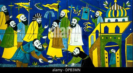Panel wall covering: the baptism of Tiridates IV, King of Arménie Isfahan Iran to 1650-1700 - Stock Photo
