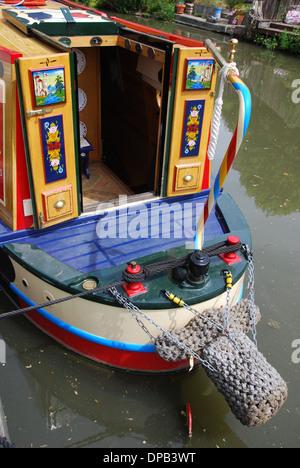 narrowboat on the Kennet & Avon Canal, Bath United Kingdom - Stock Photo