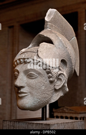 Temple of Aphaia at Aegina 500-490 BC  Warrior  in battle before Troy Greek Greece - Stock Photo