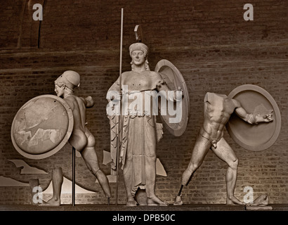 Temple of Aphaia at Aegina West Pediment. 500-490 BC Gods in battle before Troy goddess Athena Greek Greece - Stock Photo