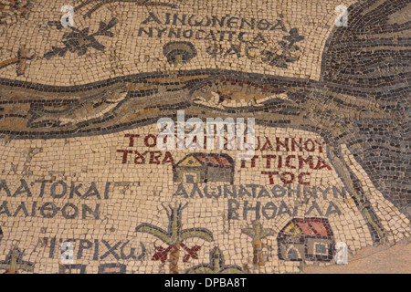 Detail of the mosaic map of the Holy Land in St George's Church, Madaba, Jordan - Stock Photo