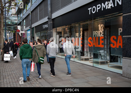 New year sales -Topman Sale, Arndale, Piccadilly Manchester, uk - Stock Photo