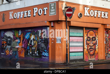 Koffee Pot painted shutters in the Northern Quarter N4 or NQ 2, Manchester City Centre, England, UK - Stock Photo
