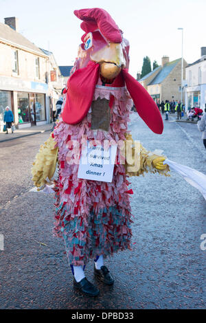 Whittlesey, Cambridgeshire, UK. 11th January 2014. Participants dressed in colourful costumes take part in the traditional - Stock Photo