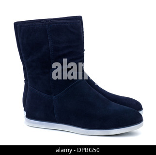 Dark blue suede boots isolated on white - Stock Photo