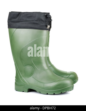 Pair of green rubber boots isolated on white - Stock Photo