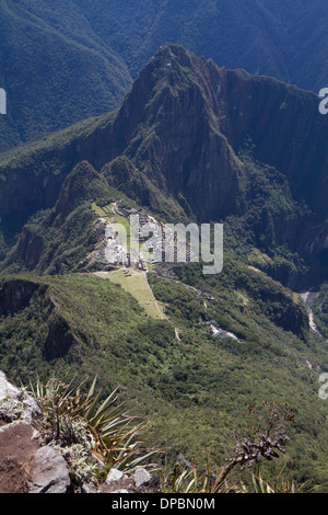 Aerial view of Machu Picchu, seen from Mach Picchu Mountain, Peru - Stock Photo