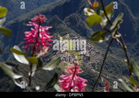 Aerial view of Machu Picchu, seen from Machu Picchu Mountain, Peru - Stock Photo