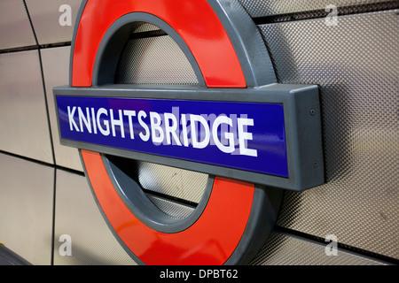 Knightsbridge tube stop sign, London, UK - Stock Photo