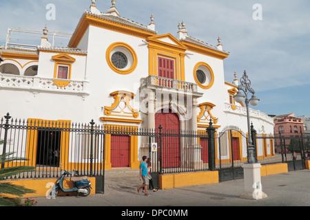 External view of Plaza de Toros de la Real Maestranza de Caballería de Sevilla (bull ring), in Seville, Andalusia, - Stock Photo