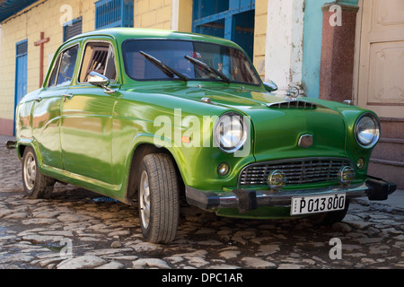 Classic Austin A40 Cambridge in Trinidad town, among many vintage British motors still surviving in Cuba, - Stock Photo