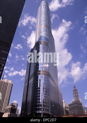 Trump Tower and the Wrigley Building on the Chicago River,Illinois - Stock Photo