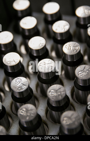 Penny coin die manufacturing at the Philadelphia branch of the United States Mint.  - Stock Photo