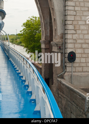 Lock on the Moscow Volga canal Russia frequented by river cruise boats with travelers from around the world, passing - Stock Photo
