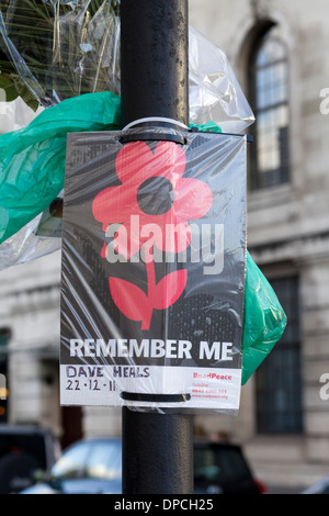 Remember me Poppy on a Lamp post in London England - Stock Photo