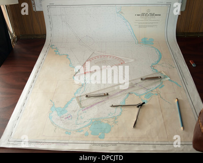 River nautical charts from a cruise ship navigating between Moscow and St Petersburg Russia - Stock Photo