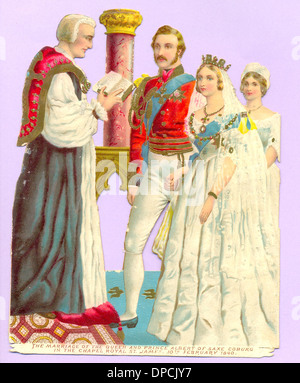Chromolithographed die cut scrap circa 1885 showing the marriage of Queen Victoria and Prince Albert in 1840 - Stock Photo