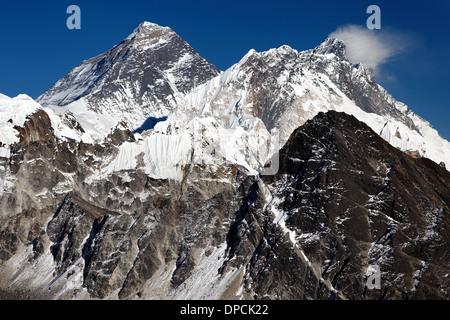 Mount Everest, Nuptse and Lhotse viewed from Gokyo Ri, Nepal Himalaya - Stock Photo