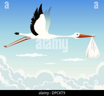 Illustration of a stork delivering baby in a bag for birth announcement, newborn holidays celebration and anniversaries - Stock Photo