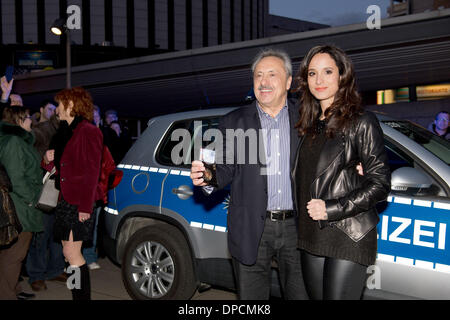 Dresden, Germany. 12th Jan, 2014. German actors Wolfgang Stumph and Stephanie Stumph arrive for the premiere of - Stock Photo