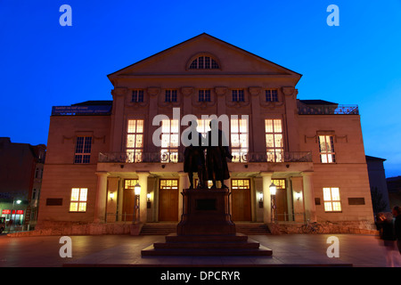 Goethe and Schiller Monument at Theater square infront of Nationaltheater, Weimar, Thuringia, Germany, Europe - Stock Photo