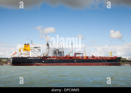Tanker moored at Milford Haven Oil refinery