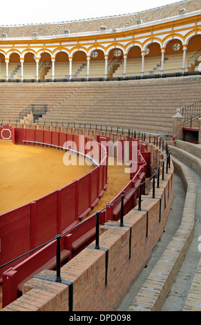 Seating inside the Plaza de Toros de la Real Maestranza de Caballería de Sevilla (bull ring), in Seville, Andalusia, - Stock Photo