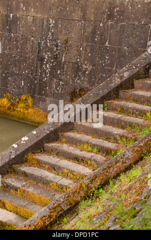 Lock stairs rockwork, Cascade Locks Marine Park, Cascade Locks, Columbia River Gorge National Scenic Area, Oregon - Stock Photo