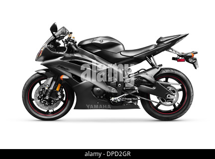 Black 2013 Yamaha YZF-R6 supersport motorcycle. Isolated with clipping path motorbike on white background. - Stock Photo