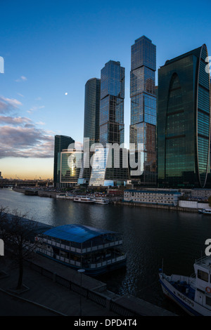 Morning view of Moscow City business centre - Stock Photo
