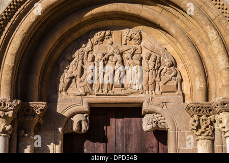 Tympanum of Puerta de Pedrón. Basílica de San Isidoro in León, Spain. - Stock Photo