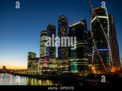 Night view of Moscow City business centre - Stock Photo