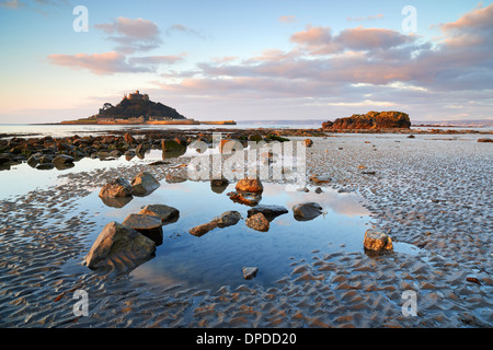 Low tide at Marazion beach overlooking Mounts Bay and St Michael's Mount - Stock Photo