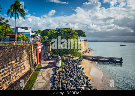 San Juan, Puerto Rico coast at Paseo de la Princesa. - Stock Photo