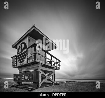 MIAMI, FLORIDA - JANUARY 9, 2013: A lifeguard tower on Miami Beach. Each tower on the beach exhibits a unique architecture. - Stock Photo
