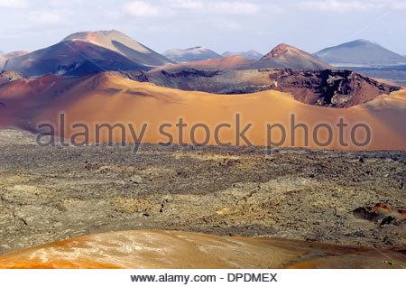 Volcanoes, Montanas del Fuego, Timanfaya National Park, Lanzarote, Canary Islands, Spain - Stock Photo