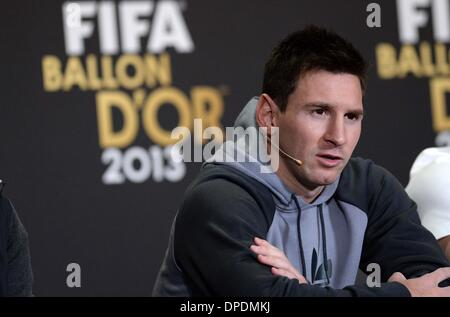 Zurich, Switzerland. 13th Jan, 2014. Barcelona's Argentinian forward Lionel Messi nominee for the player of the - Stock Photo