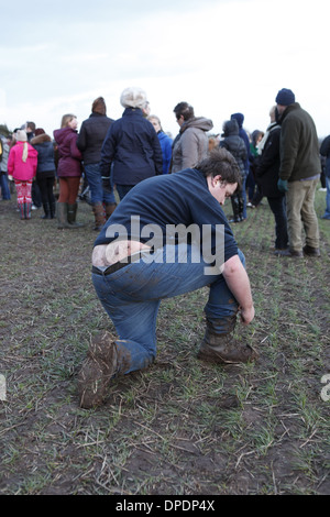 The traditional annual lead-up to, and game of The Haxey Hood held in January in North Lincolnshire, England, UK - Stock Photo