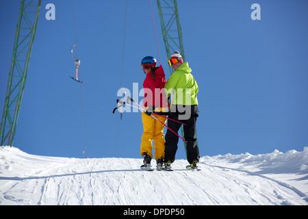 Skiers on draglift in Kuhtai , Tirol, Austria - Stock Photo