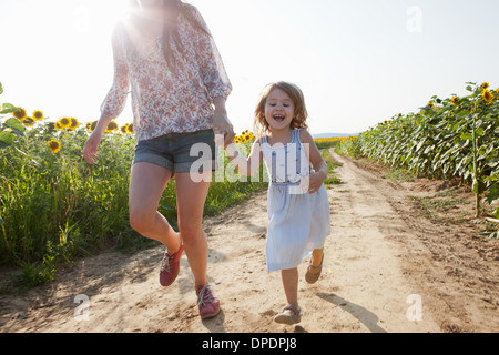 Mother and daughter running through field of sunflowers - Stock Photo