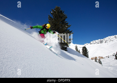 Woman off piste skiing in Kuhtai , Tirol, Austria - Stock Photo